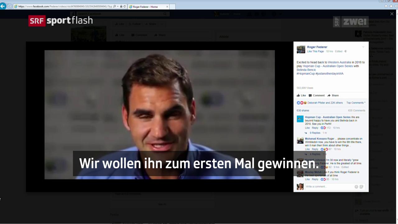 Federer kündigt seine erneute Hopman-Cup-Teilnahme auf Facebook an