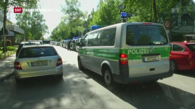 Video «Grosseinsatz der Polizei am Bahnhof nahe München» abspielen