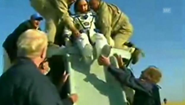 Video «Rückkehr der Raumfahrer (Originalkommentar: englisch)» abspielen