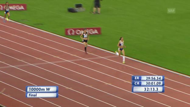 Video «LA-EM: 10'000 m Frauen, Schlussphase» abspielen
