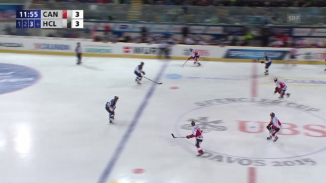 Video «Eishockey: Spengler Cup, Team Canada - Lugano, 4:3 durch D'Agostini» abspielen