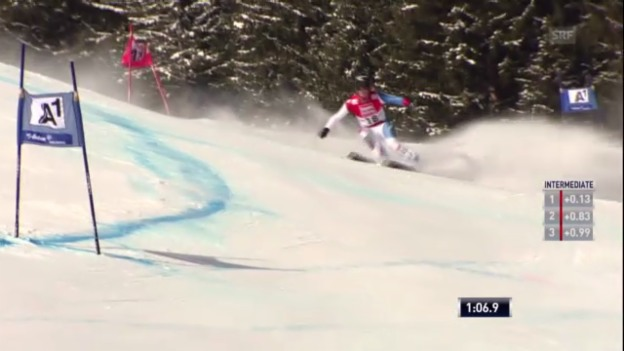 Video «Ski: Lara Guts Fahrt beim Super-G in St. Anton» abspielen