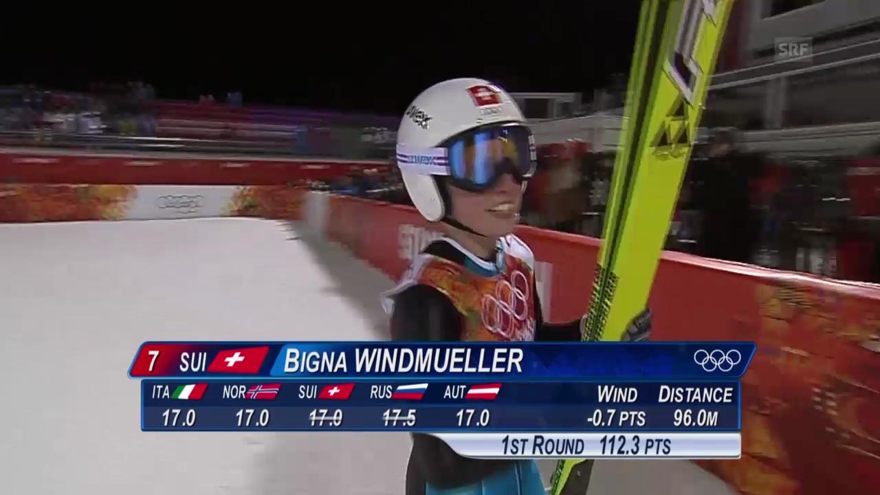Skispringen: 1. Sprung von Bigna Windmüller (sotschi direkt, 11.02.2014)