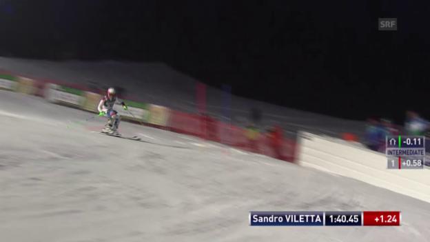 Video «Ski alpin: Super-Kombi in Kitzbühel, Slalom-Lauf von Sandro Viletta» abspielen