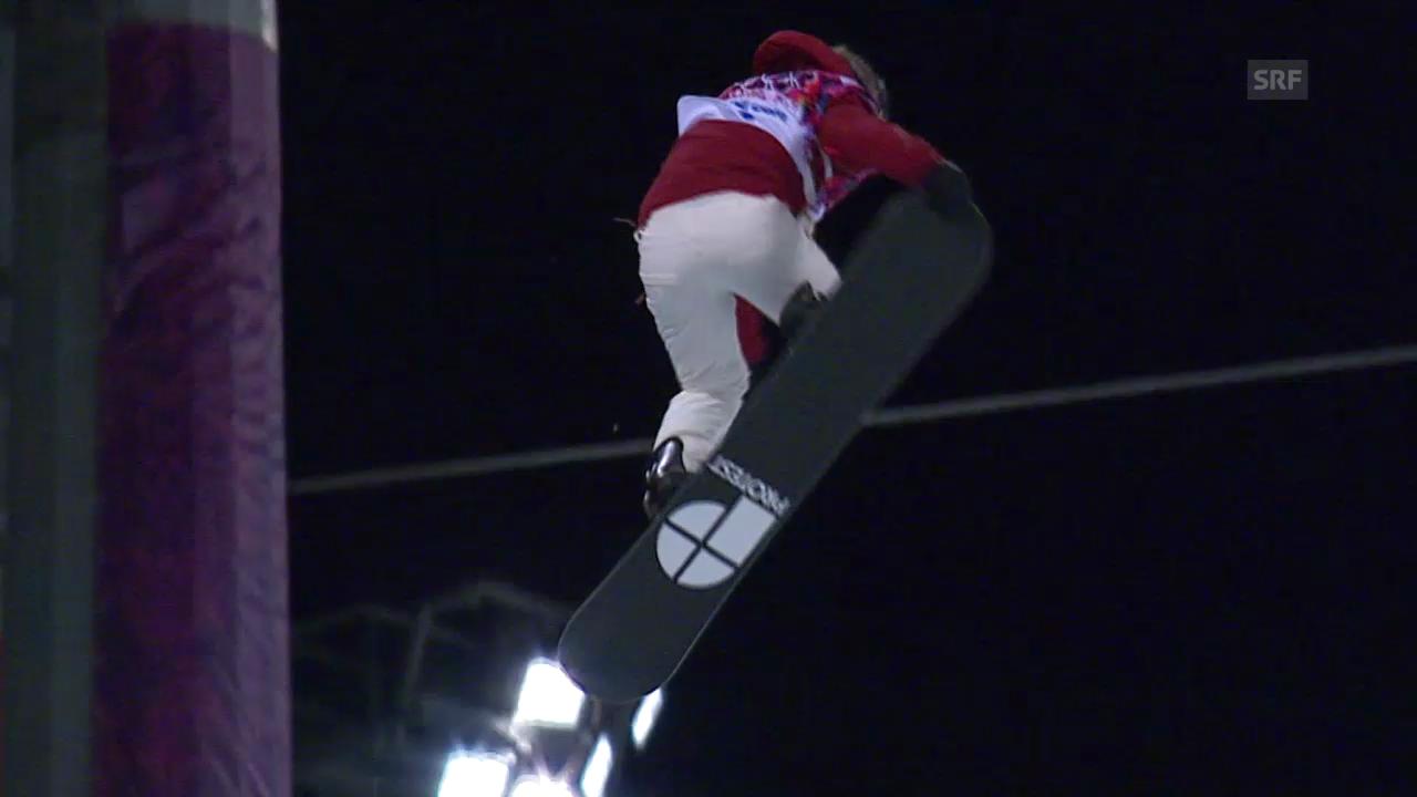 Snowboard Halfpipe: 1. Halbfinal-Run von Ursina Haller (sotschi direkt, 12.02.2014)