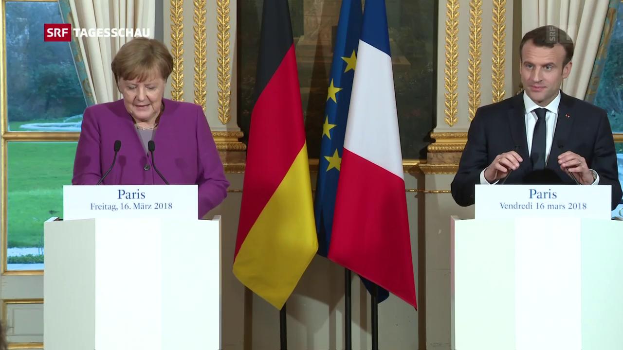 Kanzlerin Merkel bei Emmanuel Macron