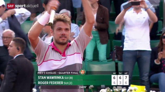 Video «Tennis: French Open, Viertelfinal, Wawrinka - Federer» abspielen
