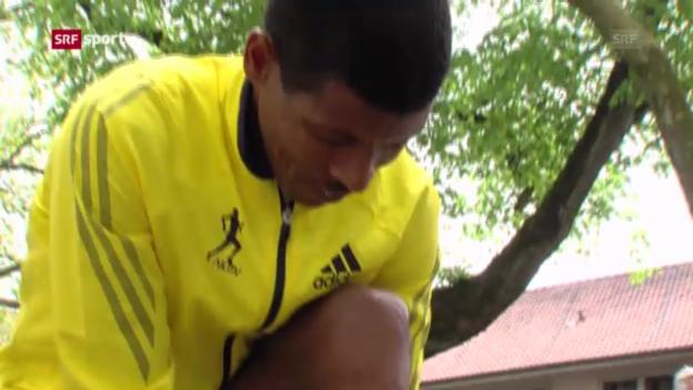 Video «Haile Gebrselassie beim GP Bern («sportaktuell»)» abspielen