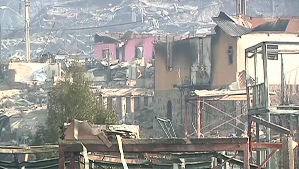 Zerstörte Stadt Valparaíso