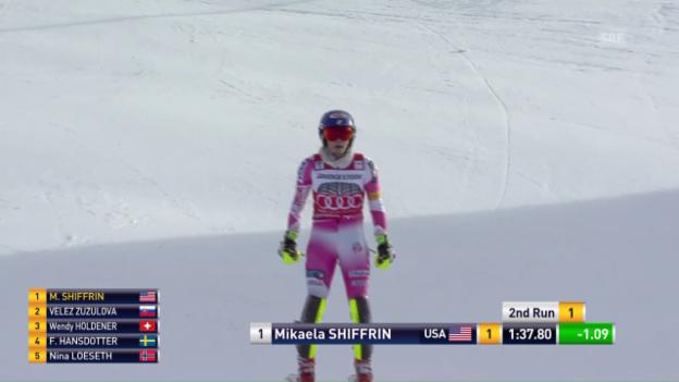 Video «Shiffrins Fahrt zum 11. Slalomsieg in Serie» abspielen