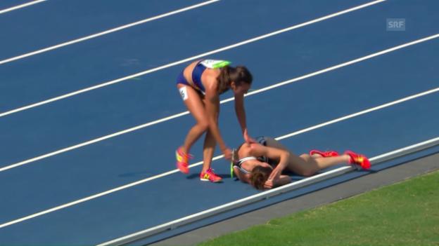 Video «Drama im 5000m-Vorlauf der Frauen» abspielen