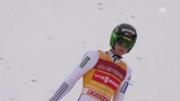 Video «Skispringen: Quali Garmisch, Prevc» abspielen