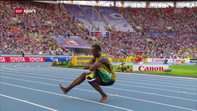 Usain Bolt übt den russischen «Kasatschok»-Tanz