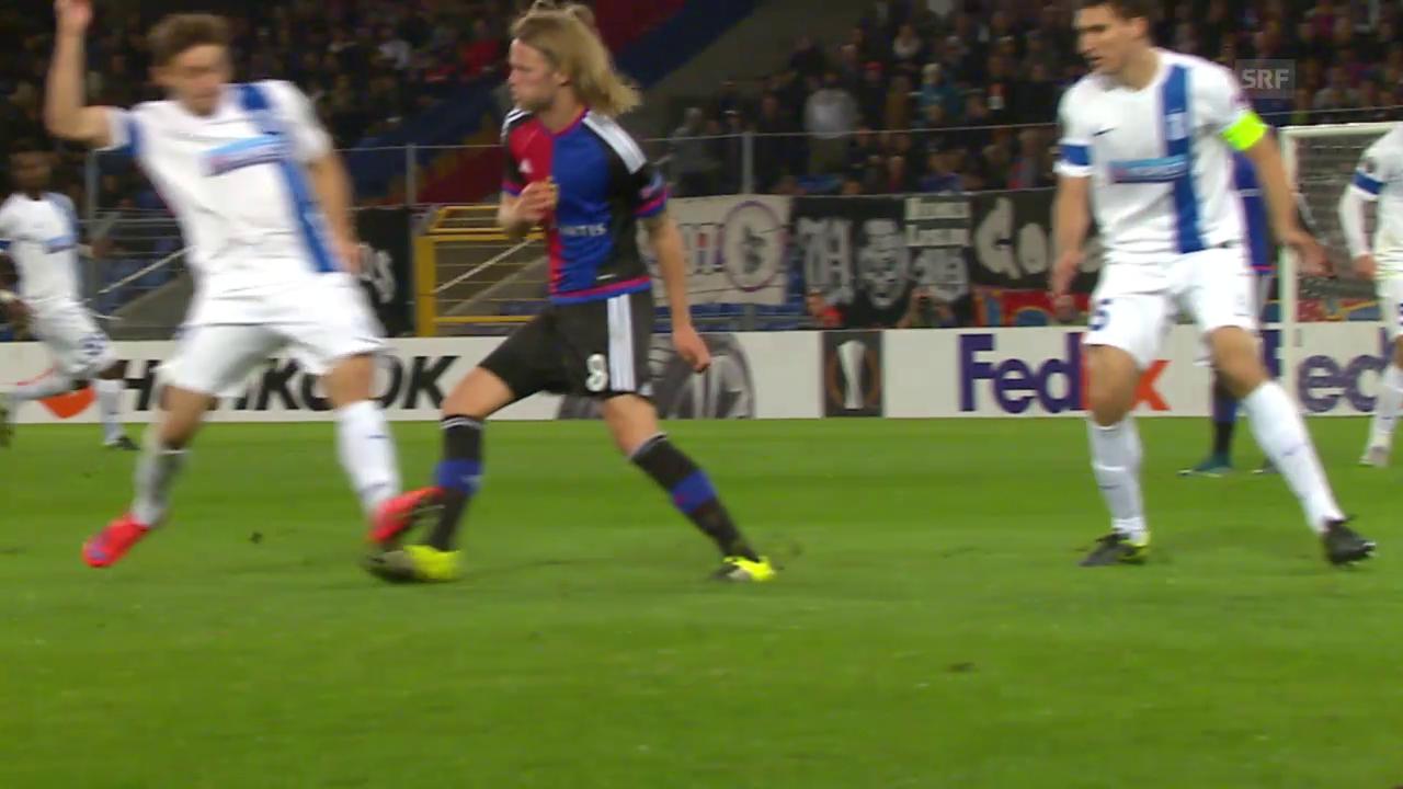 Fussball: Europa League 2015/16, 2. Gruppenspiel, Basel – Lech Posen, Gelb-rot gegen Linetty