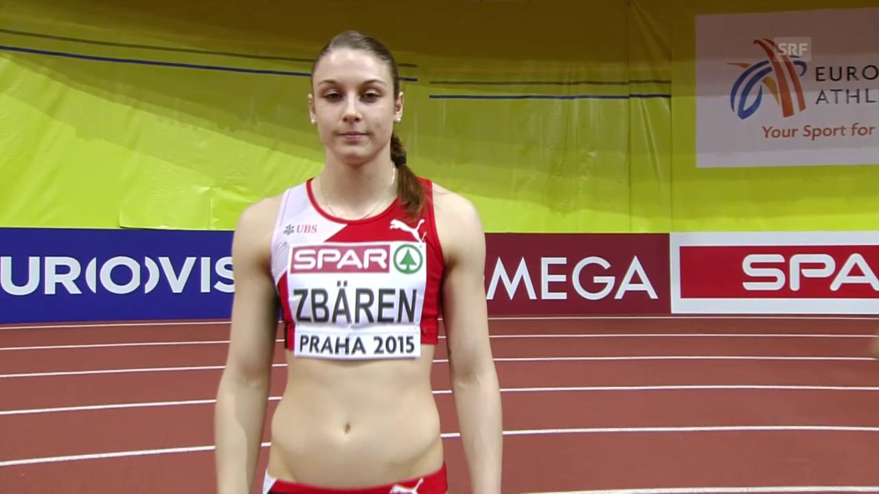 Leichtathletik: Hallen-EM in Prag, 60 m Hürden, Halbfinal mit Noemi Zbären