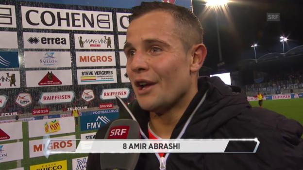 Video «Fussball: Super League, Sion - GC: Pausen-Interview mit Amir Abrashi» abspielen