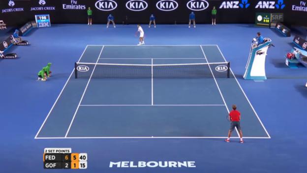 Video «Federer sichert sich den 2. Satz» abspielen