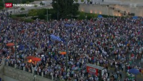Video «Pro-Europa-Demonstration in Athen» abspielen