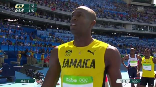 Video «Gute Vorstellung von Usain Bolt im 100m-Vorlauf» abspielen