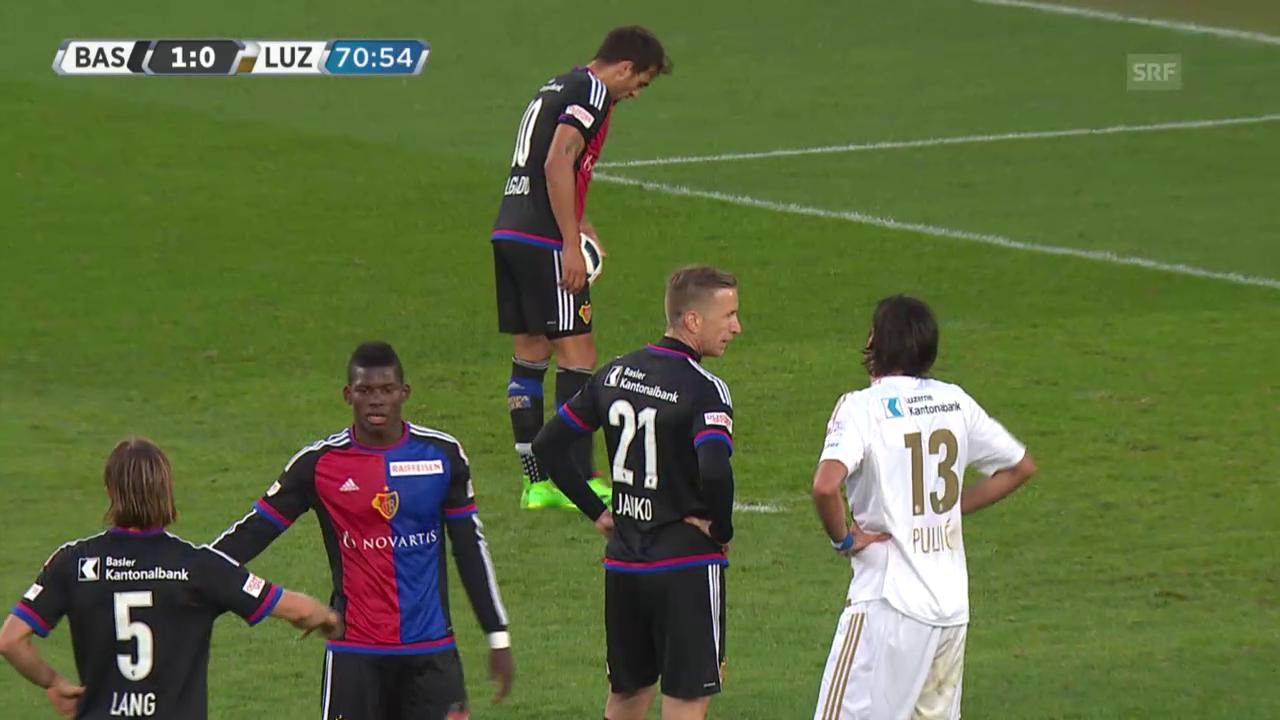 Delgado erzielt das 2:0 per Penalty für Basel gegen Luzern