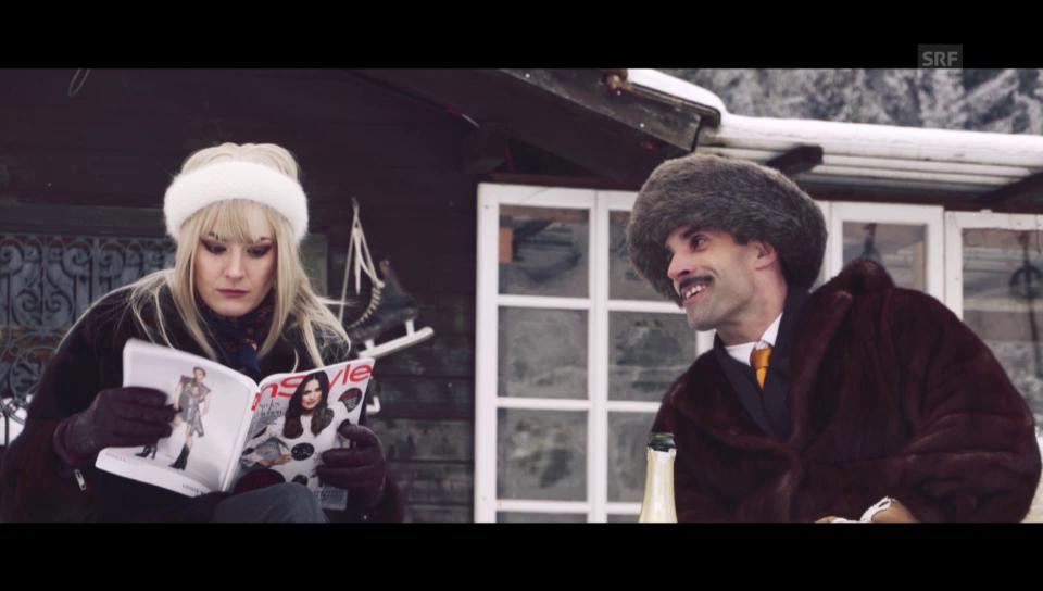 Chic im Schnee: Stöcke