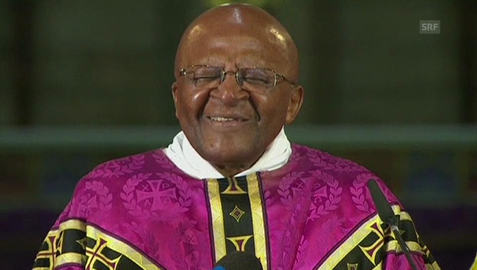 Desmond Tutu in einem Gottesdienst zu Mandelas Tod (engl.)