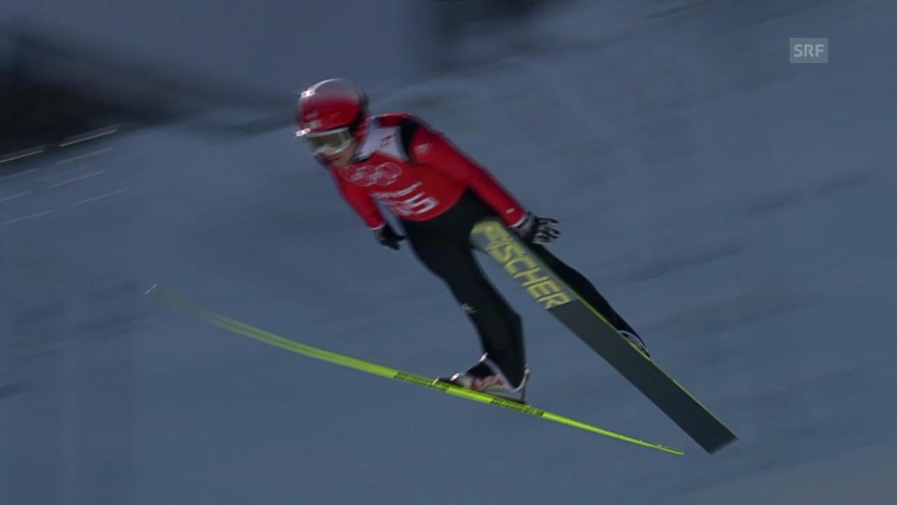 Skispringen: 2. Training, Sprung Simon Ammann («sotschi direkt», 7.2.2014)
