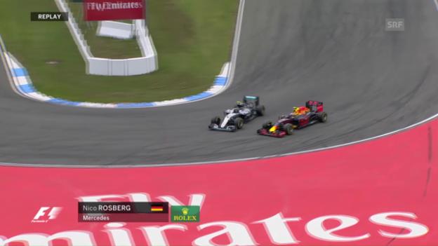 Video «Hockenheimring: Strafe für Rosberg nach diesem Manöver» abspielen