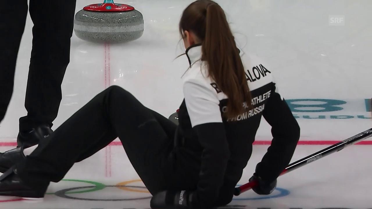 Dumm gelaufen: Russische Curlerin verliert die Balance