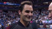 Video «Das amüsante Platzinterview mit Federer» abspielen