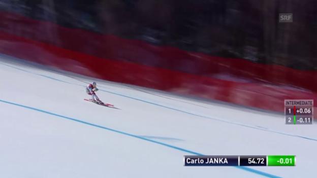Video «So schlägt sich Carlo Janka auf der Olympia-Strecke» abspielen