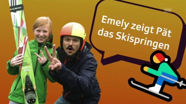 Video «Emely zeigt «Zambo»-Moderator Pät das Skispirngen» abspielen
