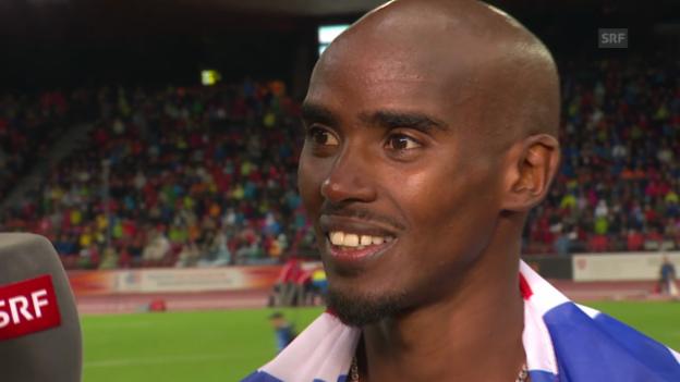 Video «Leichtathletik: Mo Farah im Sieger-Interview» abspielen