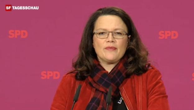 Video «SPD-Generalsekretärin Andrea Nahles erteilt dem Abkommen eine Abfuhr.» abspielen