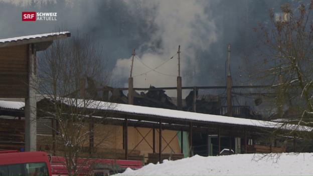 Video «Grossbrand hält Feuerwehr auf Trab» abspielen