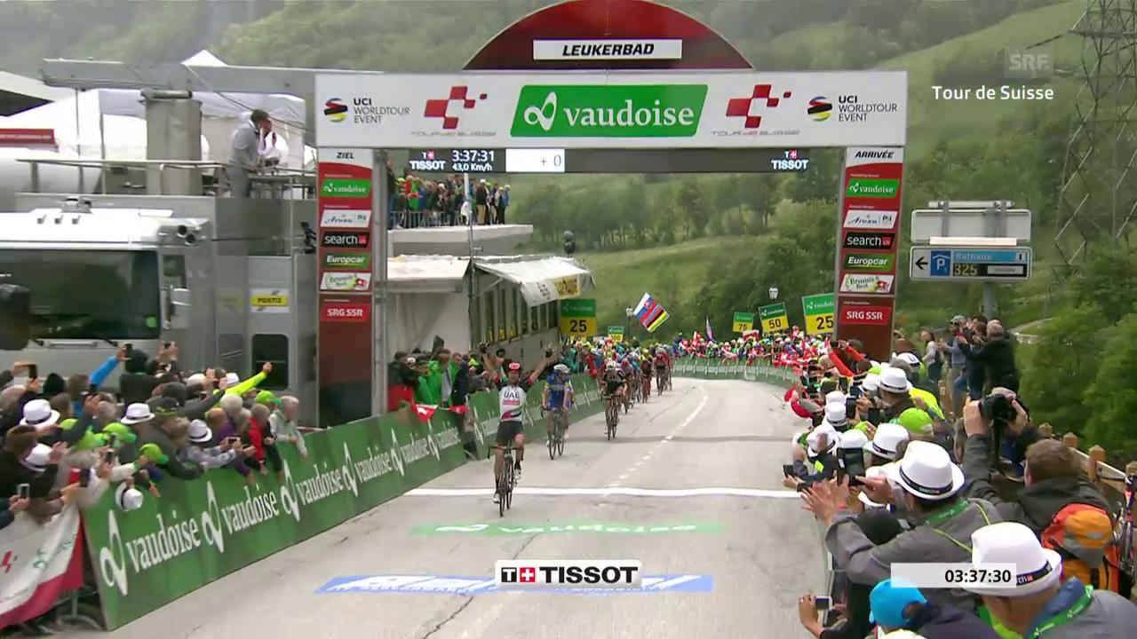 Zielankunft bei der 5. Etappe der Tour de Suisse