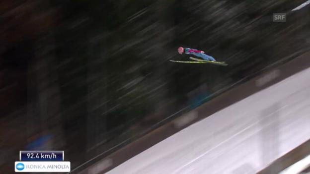 Video «Skispringen: Vierschanzentournee Bischofshofen, der 2. Sprung von Stefan Kraft» abspielen
