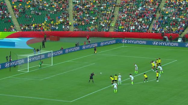 Video «Fussball: Frauen-WM, USA - Kolumbien, Wambach Penalty» abspielen