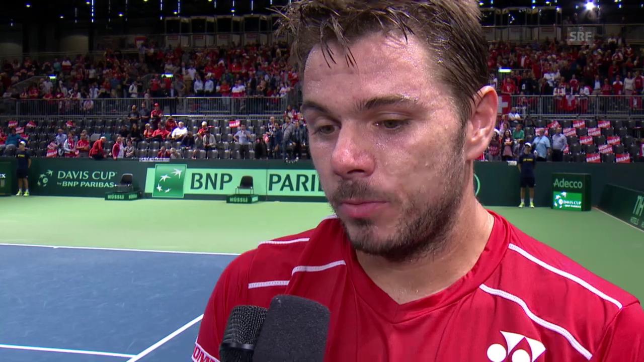 Tennis: Davis Cup, Barrage, 1. Einzel, Stan Wawrinka . Thiemo de Bakker, Platzinterview mit Wawrinka