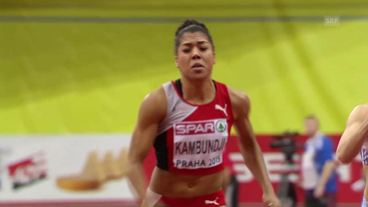 Leichtathletik: Hallen-EM in Prag, 60 m, Vorlauf mit Mujinga Kambundji