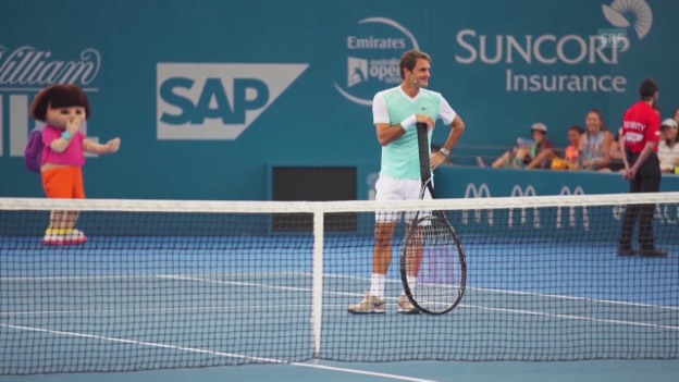 Video «Tennis: ATP Brisbane, Federer beim Kids Day» abspielen