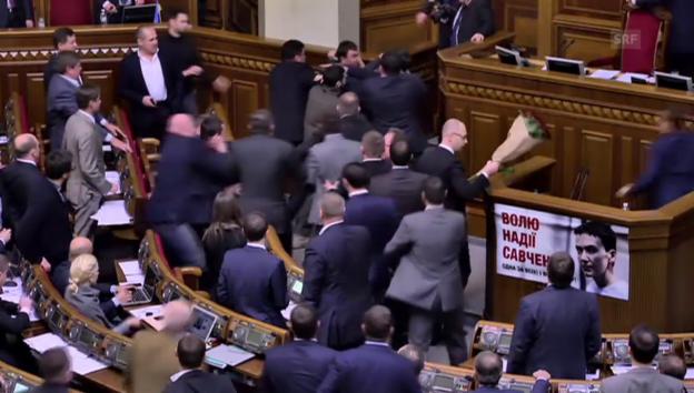 Video «Handgreifliches im ukrainischen Parlament» abspielen