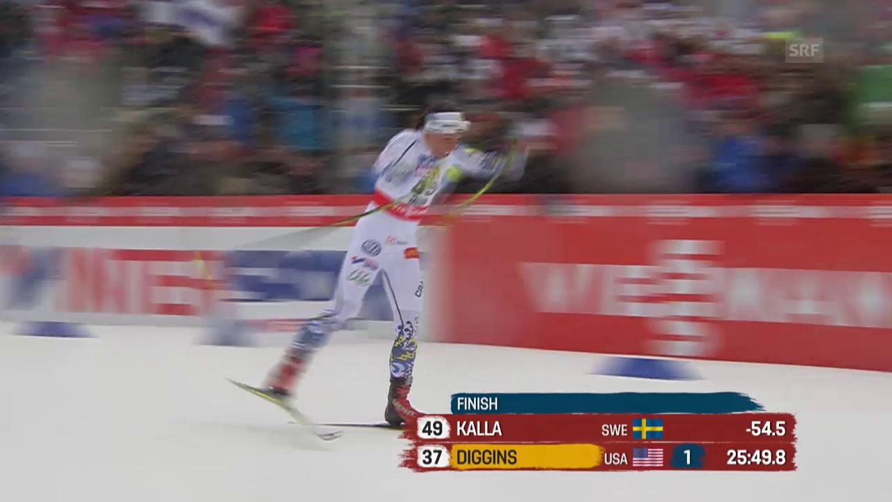 Langlauf: WM in Falun, 10 km Skating Frauen, Zieleinlauf Charlotte Kalla