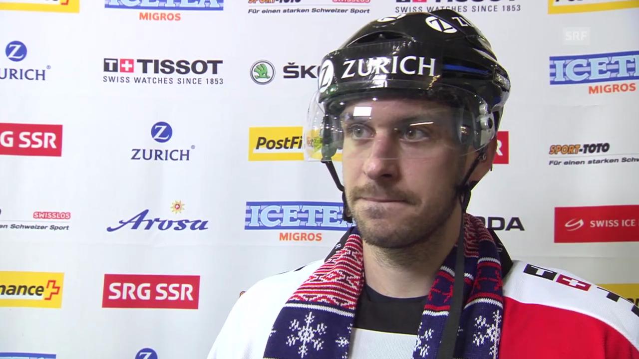 Eishockey: Arosa Challenge, Weissrussland - Schweiz, Interview mit Luca Cunti