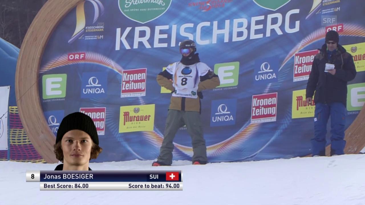 1. Snowboard: Freestyle-WM – Slopestyle 3. Final-Lauf Jonas Boesiger