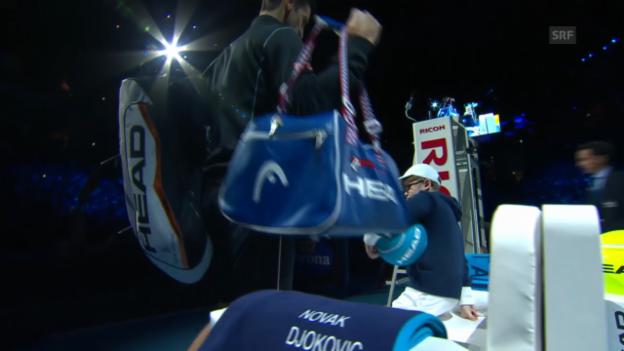 Video «Tennis: Ballkind setzt sich auf Djokovics Bank» abspielen