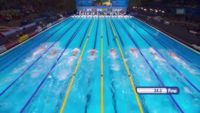 Der Final über 100 Meter Delfin der Männer