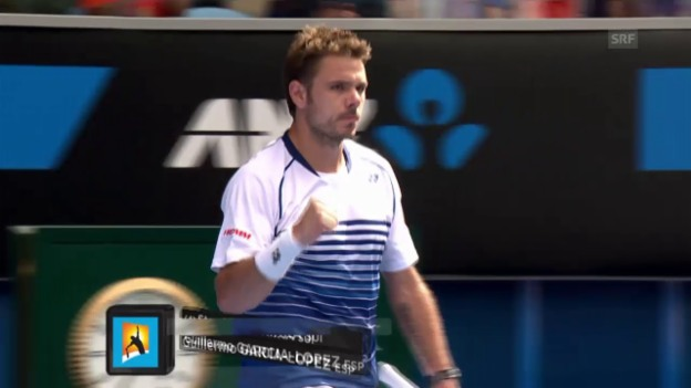 Video «Tennis: Australian Open, Achtelfinal Wawrinka - Garcia-Lopez» abspielen