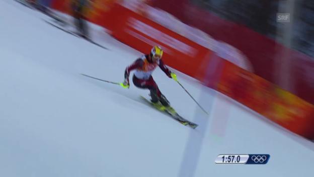 Video «Ski, Kombinations-Slalom, Fahrt von Ivica Kostelic (sotschi direkt, 14.02.14)» abspielen