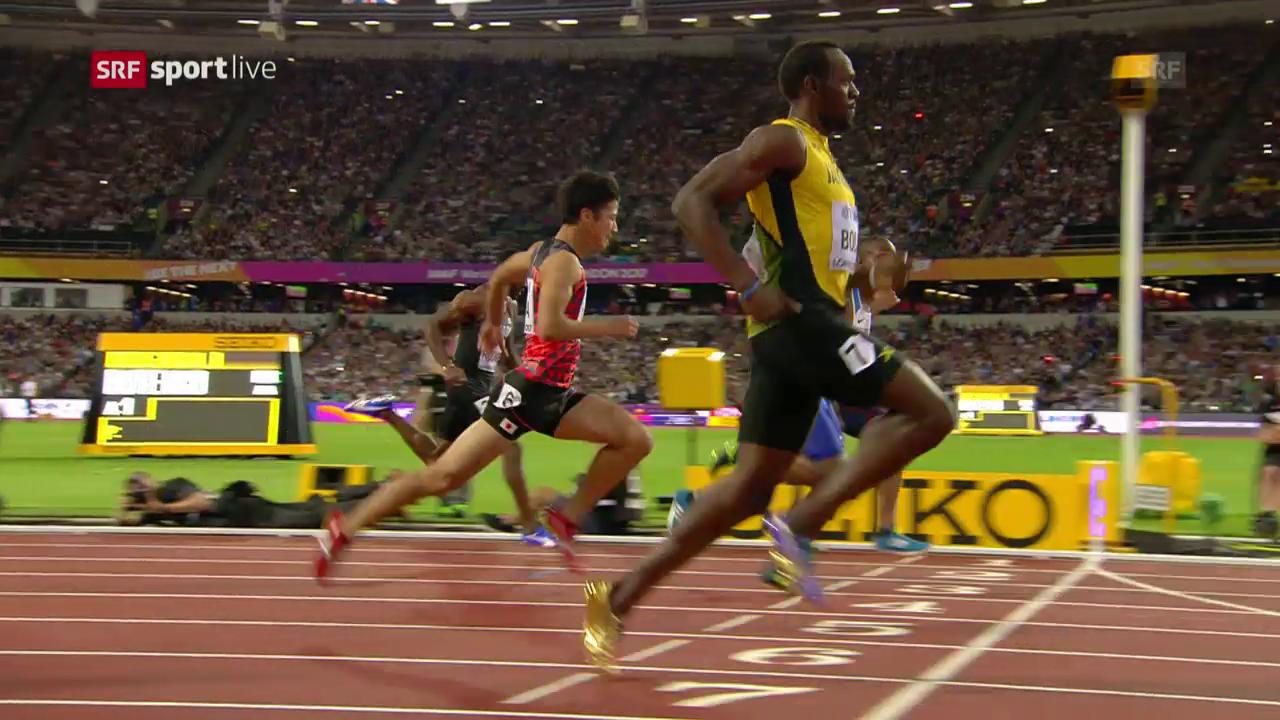 Der 100-m-Vorlauf von Usain Bolt